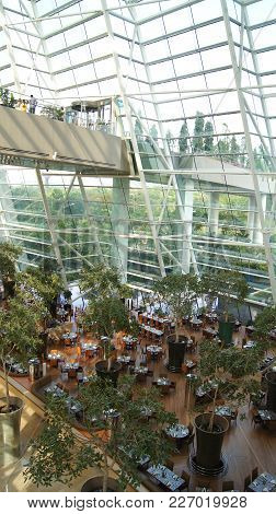 Singapore - Apr 3rd, 2015: Inside View Of The Marina Bay Sands Hotel, Lobby Of One Of The Most Luxur