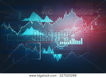 Abstract Business Chart With Uptrend Line Graph, Bar Chart And Diagram In Bull Market On Dark Blue B