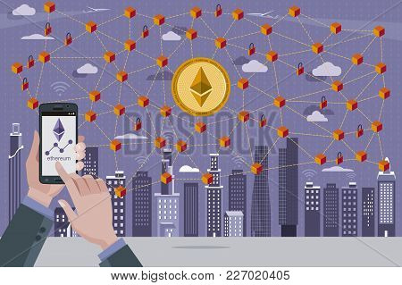 Modern City, Ethereum Currency Symbol, Blockchain Transaction Network With Ethereum Currency. In The