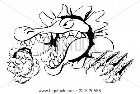 Illustration Of A Cartoon Alligator Or Crocodile Smashing Through A Wall With Claws And Head