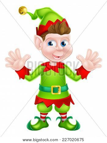 An Illustration Of A Cute Happy Cartoon Christmas Elf Or One Of Santa S Christmas Helpers Waving