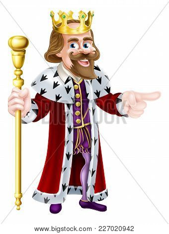 Happy King Cartoon Character Wearing A Crown, Holding A Sceptre And Pointing