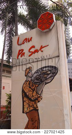 Singapore - Apr 3rd, 2015: The Lau Pa Sat Festival Market Telok Ayer Is A Historic Victorian Cast-ir