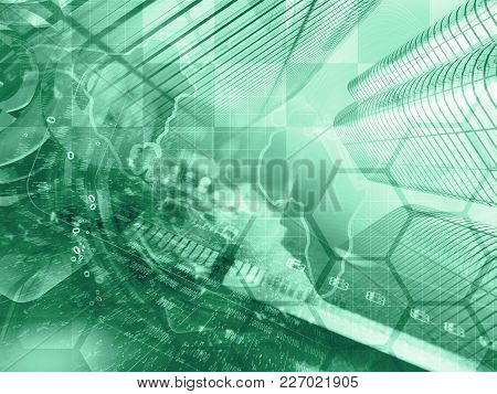 Digits And Buildings - Abstract Computer Background In Greens.