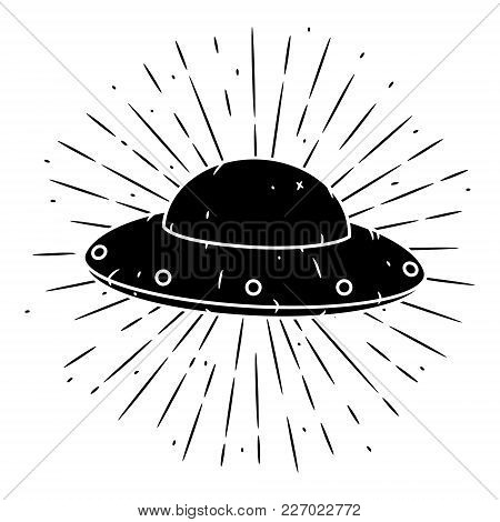 Vector Illustration With A Ufo And Divergent Rays On Blackboard. Used For Poster, Banner, Web, T-shi