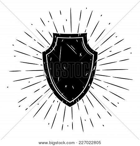 Vector Illustration With A Shield And Divergent Rays On Blackboard. Used For Poster, Banner, Web, T-