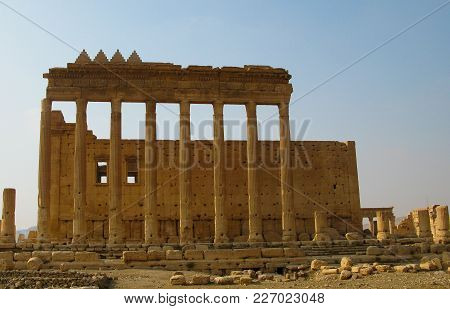 Destroyed Temple Of Baal In Palmyra At Syria. Eliminated By Isis Now.