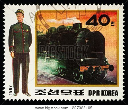 Moscow, Russia - February 16, 2018: A Stamp Printed In Dprk (north Korea), Shows Train Conductor, St