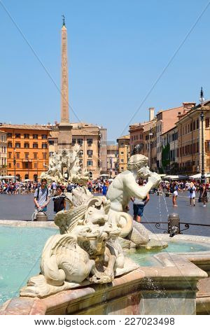 ROME,ITALY - JULY 21,2017 : Piazza Navona in Rome on a beautiful summer day