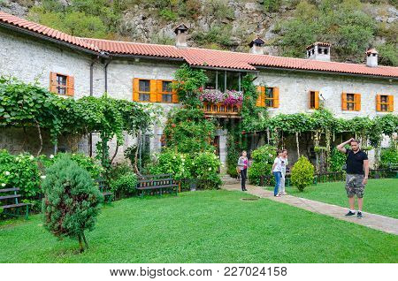 Monastery Of Moraca, Montenegro - September 12, 2017: Unknown Tourists Visit Famous Monastery Of Mor