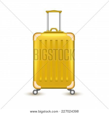 Realistic Yellow Travelling Suitcase, Bag Mockup. Vector Voyage Plastic Luggage Case With Handle Whe