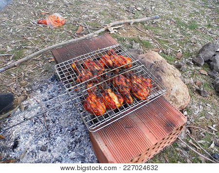 Barbecue And Chicken Bud Skewers, Making Barbecued Chicken, Barbecued Chicken Great Fried,