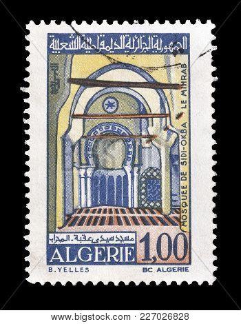 Algeria - Circa 1970 : Cancelled Postage Stamp Printed By Algeria, That Shows Mosque Sidi Okba.