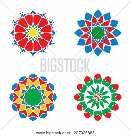 Geometric Logo Template Set. Vector Arabic Ornamental Symbols