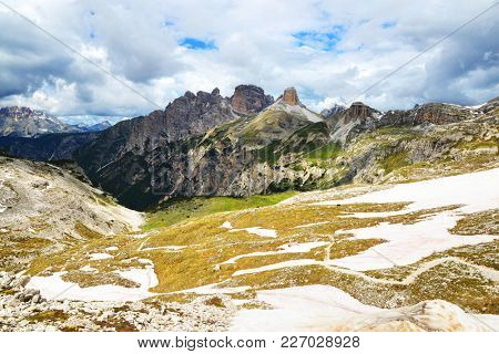 Mountain landscape in Sexten Dolomites. South Tyrol, Italy.
