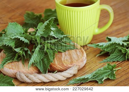 Stinging Nettle On A Cutting Board And Tea Cup .