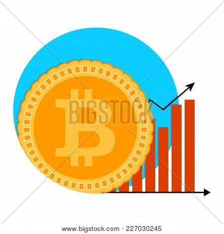 Bitcoin Growth Chart Symbol. Badge Label Emblem Btc Growing, Arrow Infographic And Banking Increase.