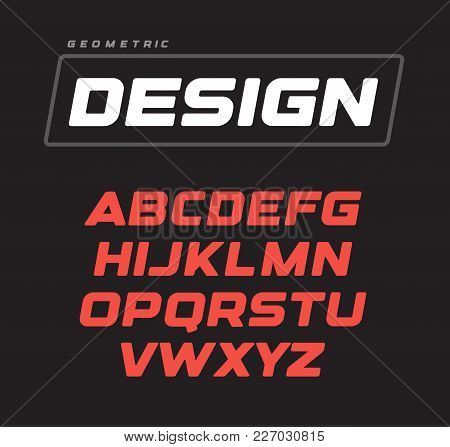 Italic Bold Geometric Alphabet Design. Sport Game Vector Font Template