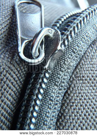 Close Up Of A Zip On A Bag