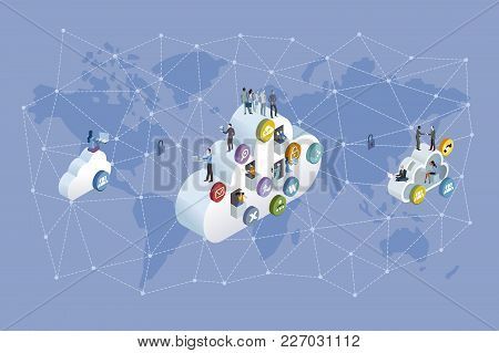 Decentralized Network And Cloud Computing. Professional Workers Working In The Cloud. Network Ans Wo