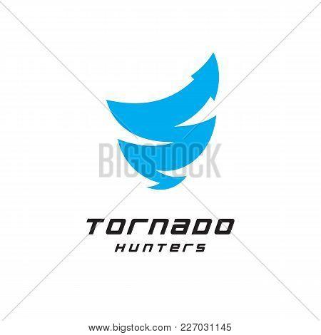 Tornado Hunters Logo, Nature Science Research. Web Arrow Icon Vector Template