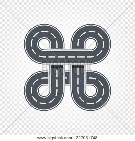 Abstract Race Symbol, Isolated Road, Lane Logo. Cartoon Higway Vector Illustration