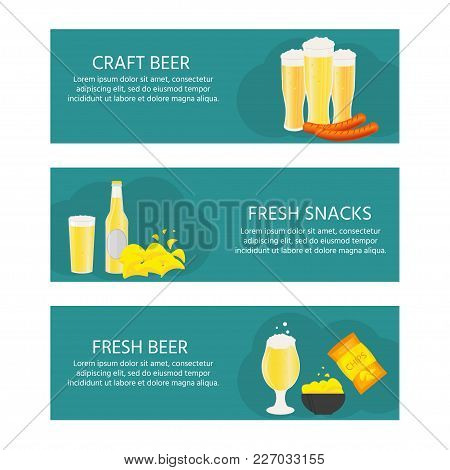 Gorizontal Poster, Banner With Beer Bottle, Mugs, Glasses, Potato Chips, Sausage. Vector Icon With A