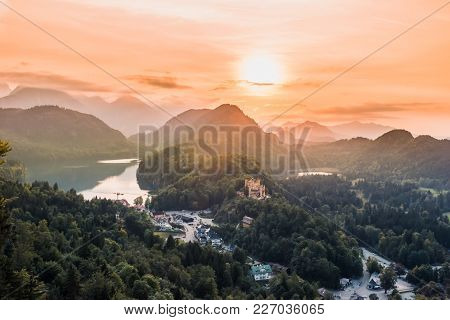 View To Alpsee Lake Valley, Bavarian Alps, Fussen, Germany