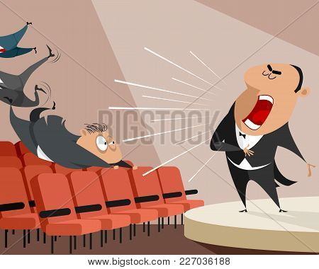 Vector Illustration Of An Opera Singer On Stage