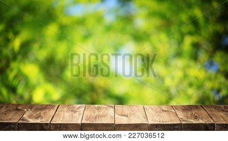 Old wooden table top and green foliage at the background.