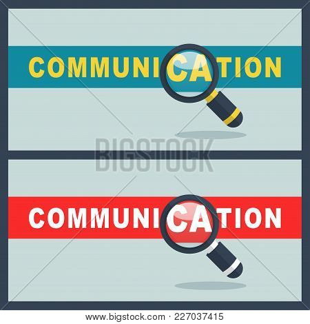 Illustration Of Communication Word With Magnifier Concept