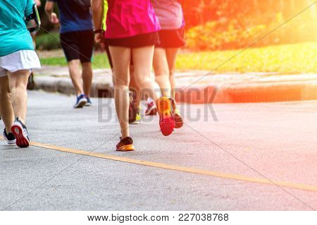 Marathon Running In Fitness And Healthy Active Lifestyle On Road
