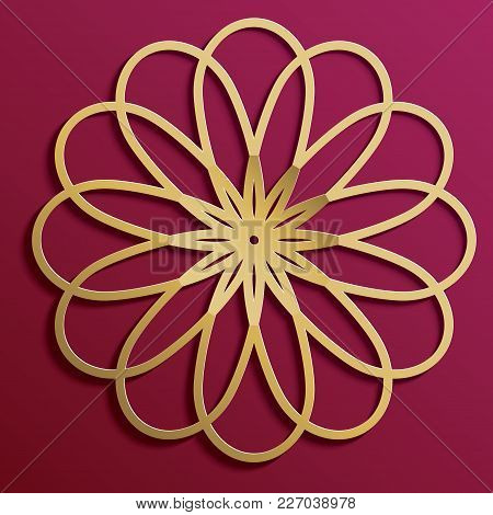 Gold On Dark Mandala Round Ornament Background Architectural Muslim Texture Design. Can Be Used For
