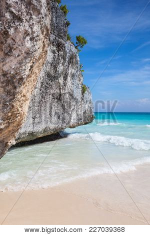 On The Amazing Beach In Mayan Ruins In Tulum.tulum Is A Resort Town On Mexicos Caribbean Coast. The