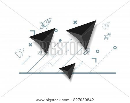 Illustration Of Abstract Arrow Growth Up Business Concept Vector Background