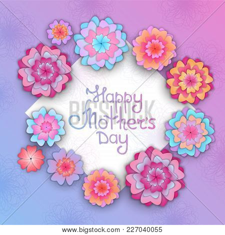 Greeting Card With Flowers For Mother's Day In The Style Of Cut Paper.