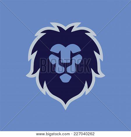 Blue Lion Head Modern Logo Template Vector