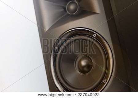 Elegant Powerfull Studio Monitor - Black Speaker Closeup