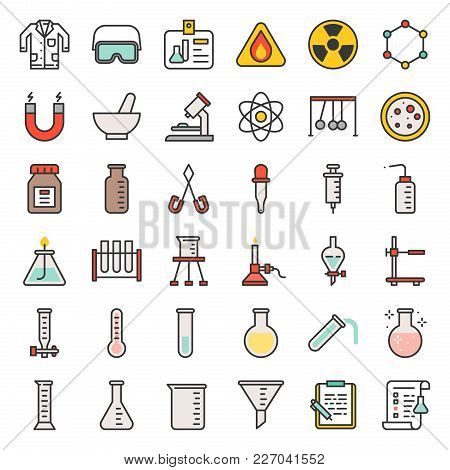 Laboratory Equipment, Chemistry Analytical Concept, Filled Outline Icon