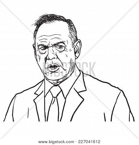 Roy Moore Portrait Drawing. Hand-drawn Vector Illustration. February 17, 2018