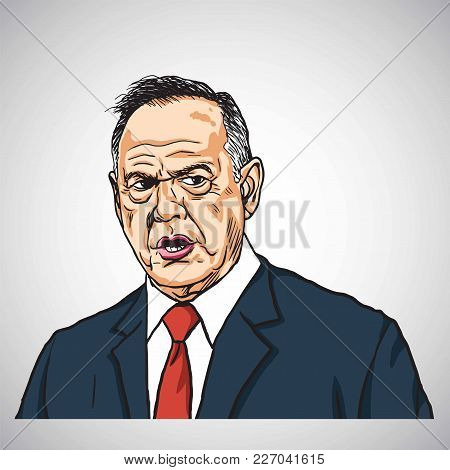 Roy Moore Caricature Portrait Drawing. Hand-drawn Vector Illustration. February 17, 2018