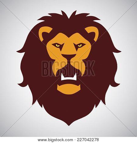 Wild Lion Roaring Logo Mascot Design Illustration