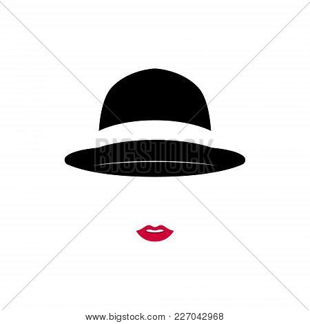 Beautiful Lady Wearing Vintage Hat On White Background. Vector Illustration.
