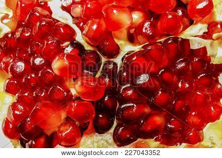 Grains Have Broken Ripe Pomegranate Close Up