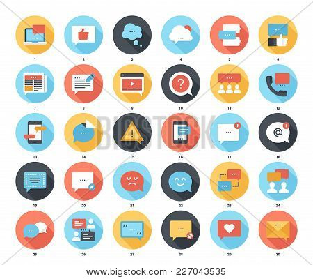 Abstract Vector Set Of Colorful Flat Message Bubbles Icons With Long Shadow. Concepts And Design Ele