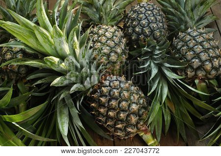 Ripe Pineapple Fruit On Wooden Table Background