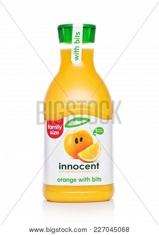 London, Uk - February 14, 2018: Plastic Bottle Of Innocent Orange Juice On White Background.family S