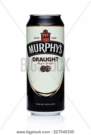 London, Uk - February 14, 2018: Aluminium Can Of Murphy's Draught Irish Stout Beer On White.