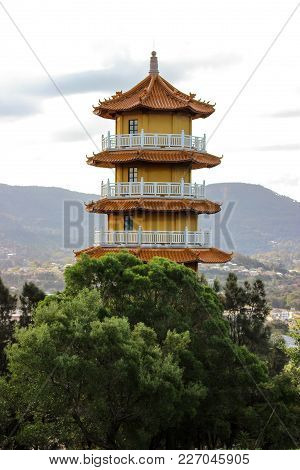 Wollongong, Nsw/ Australia - July 8, 2015:  8 Level Pagoda In The Nan Tien Temple Complex
