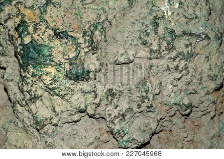 Background, Texture - Surface Of An Unprocessed Block Of Malachite With Patches Of Green Stone